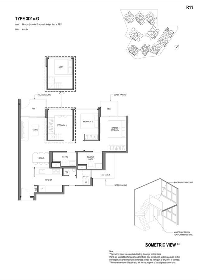 Parc Komo Condo Floor Plan 3 Bedroom Deluxe 3D1cG