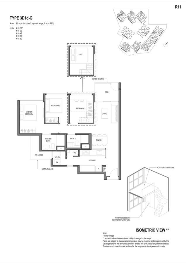 Parc Komo Condo Floor Plan 3 Bedroom Deluxe 3D1dG