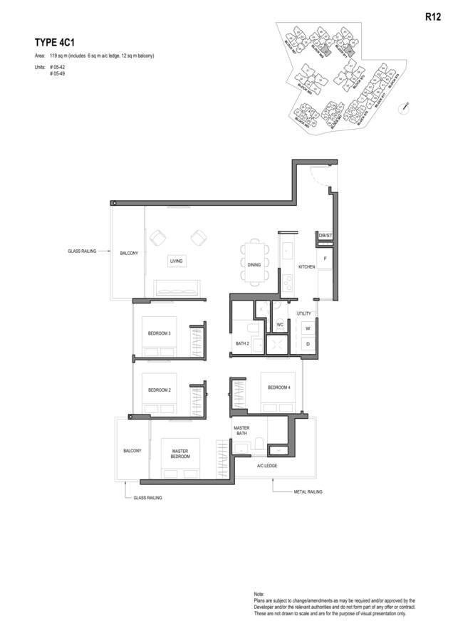 Parc Komo Condo Floor Plan 4 Bedroom Compact 4C1