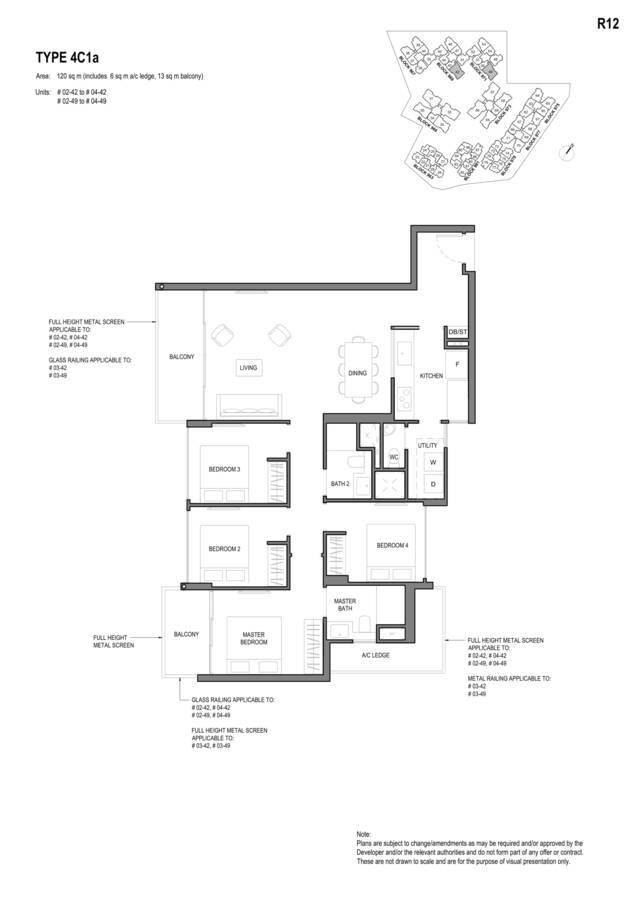 Parc Komo Condo Floor Plan 4 Bedroom Compact 4C1a