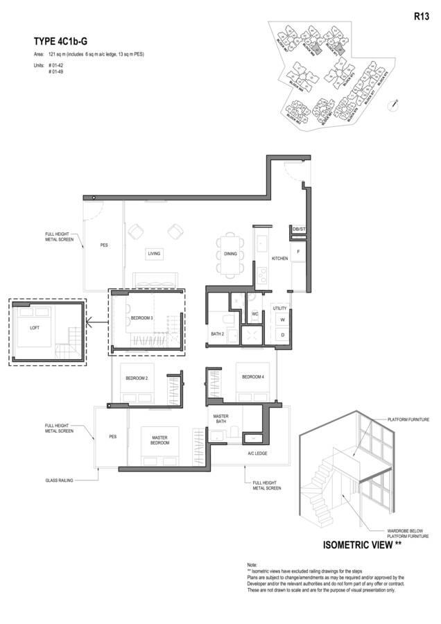 Parc Komo Condo Floor Plan 4 Bedroom Compact 4C1bG