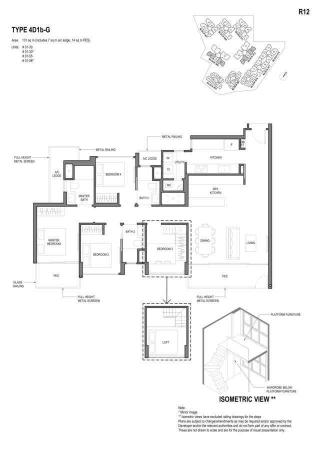 Parc Komo Condo Floor Plan 4 Bedroom Deluxe 4D1bG
