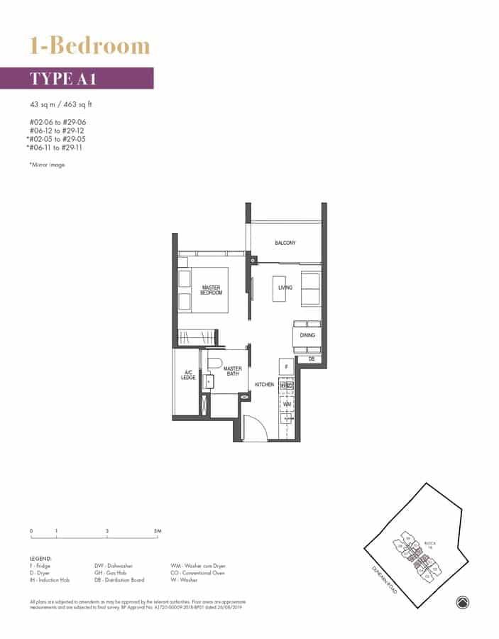 Pullman Residences Condo Floor Plan 1 Bedroom A1