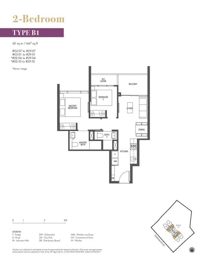 Pullman Residences Condo Floor Plan 2 Bedroom B1