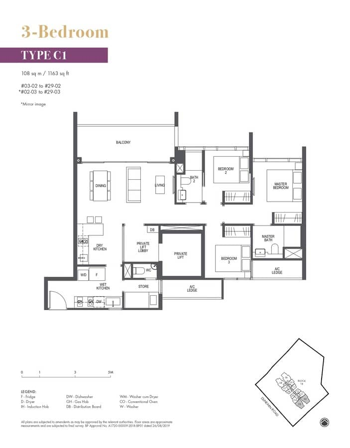 Pullman Residences Condo Floor Plan 3 Bedroom C1