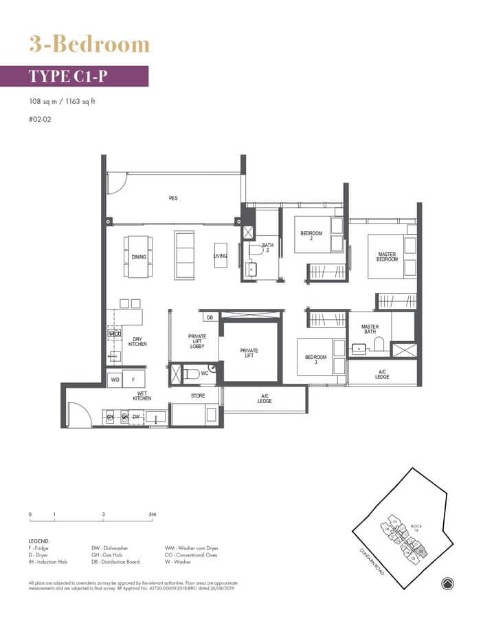 Pullman Residences Condo Floor Plan 3 Bedroom C1P