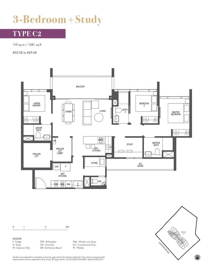 Pullman Residences Condo Floor Plan 3 Bedroom Study C2