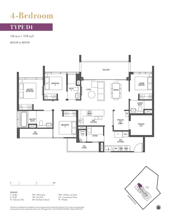 Pullman Residences Condo Floor Plan 4 Bedroom D1