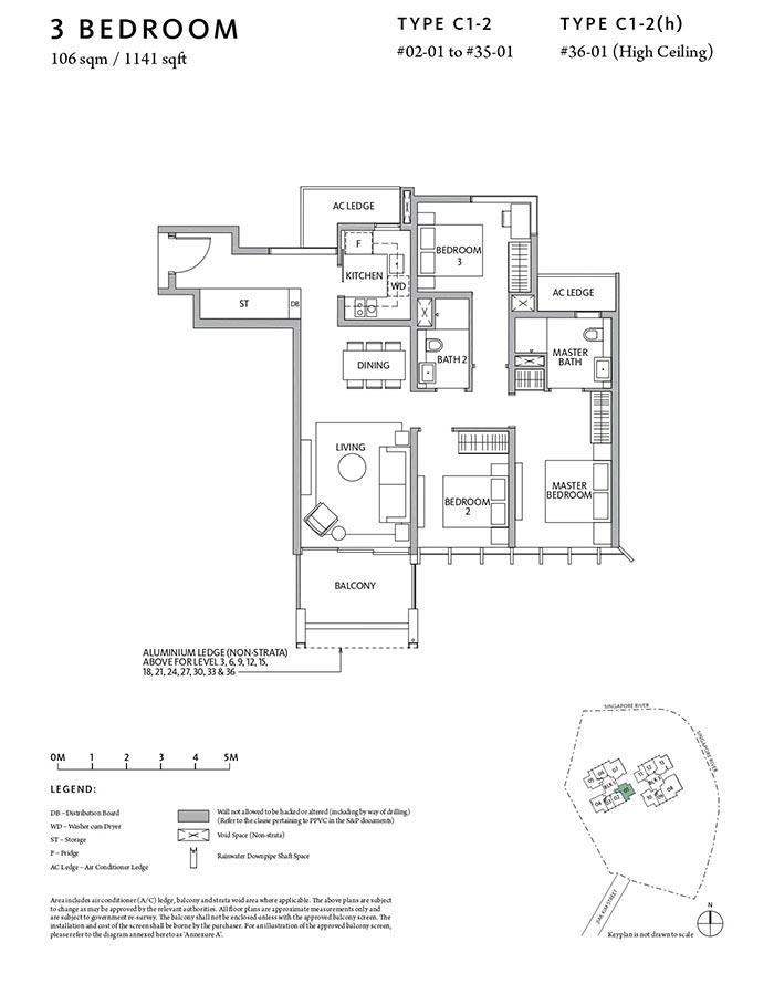 Riviere-Condo-Floor-Plan-Classic-3-Bedroom-C1-2
