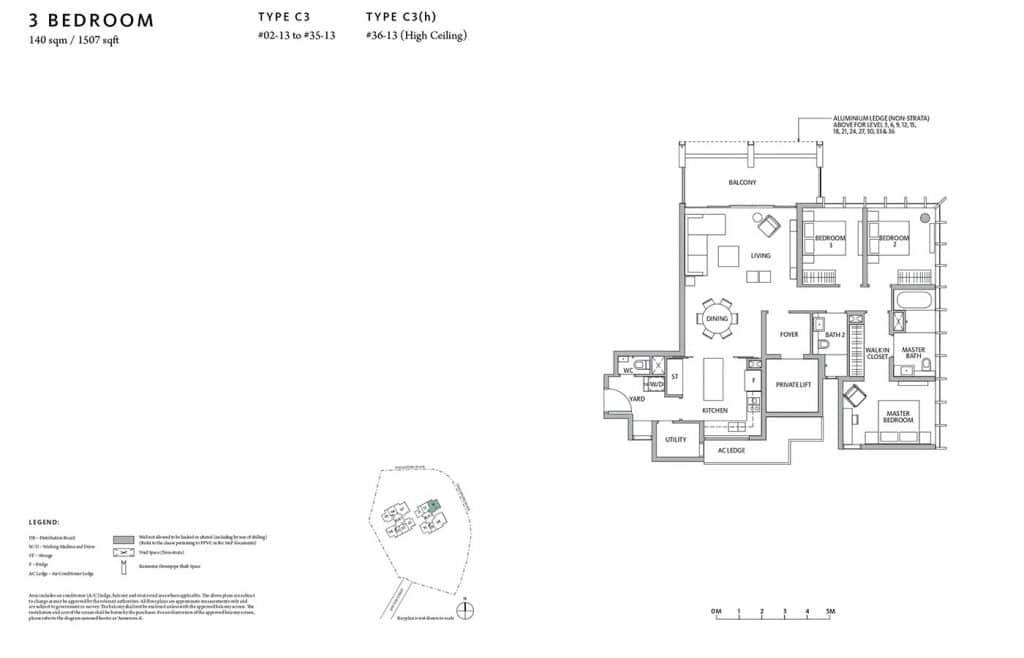 Riviere-Condo-Floor-Plan-Premium-3-Bedroom-C3