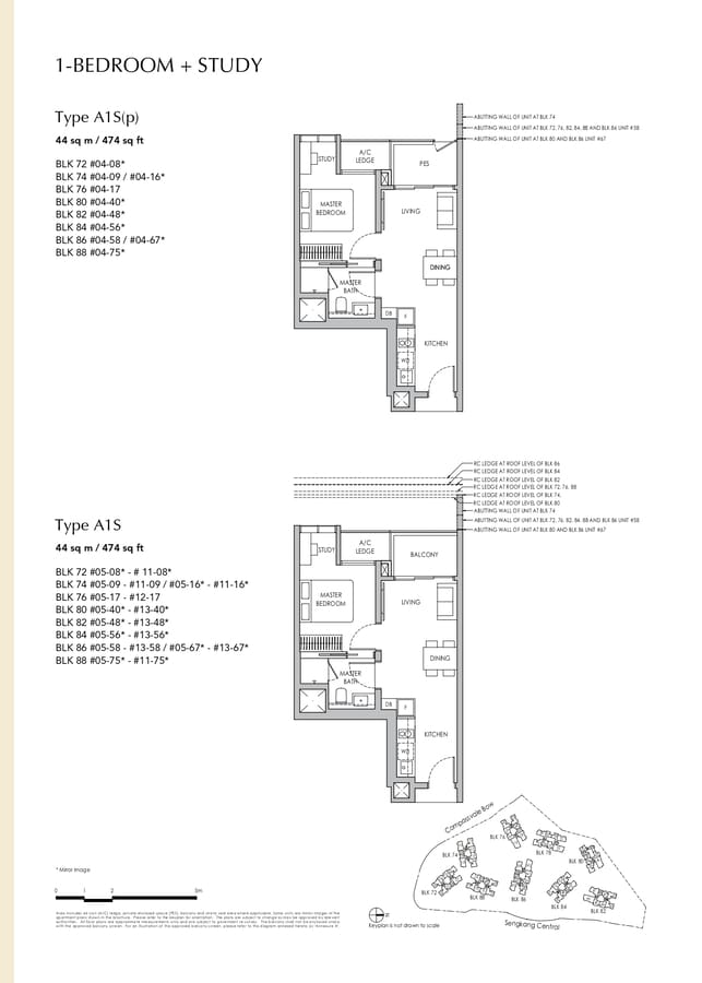 Sengkang Grand Residences Condo Floor Plan 1 Bedroom Study A1S A1Sp