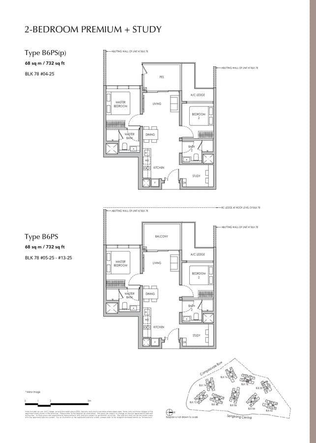 Sengkang Grand Residences Condo Floor Plan 2 Bedroom Premium Study B6PS B6PSp