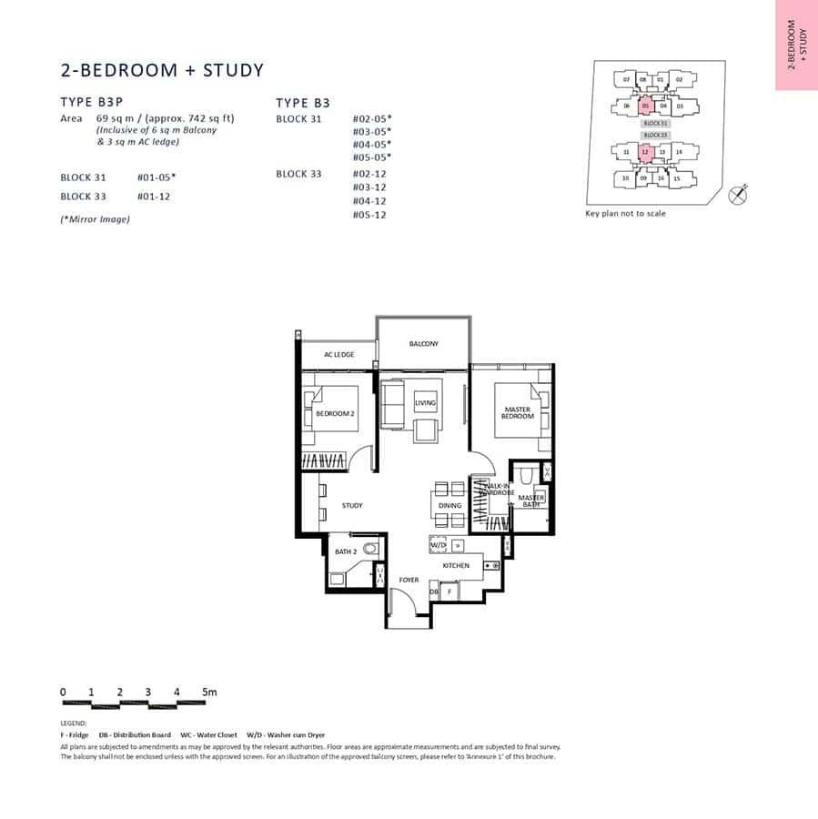 The-Lilium-Condo-Floor-Plan-2-Bedroom-Study-B3-B3P