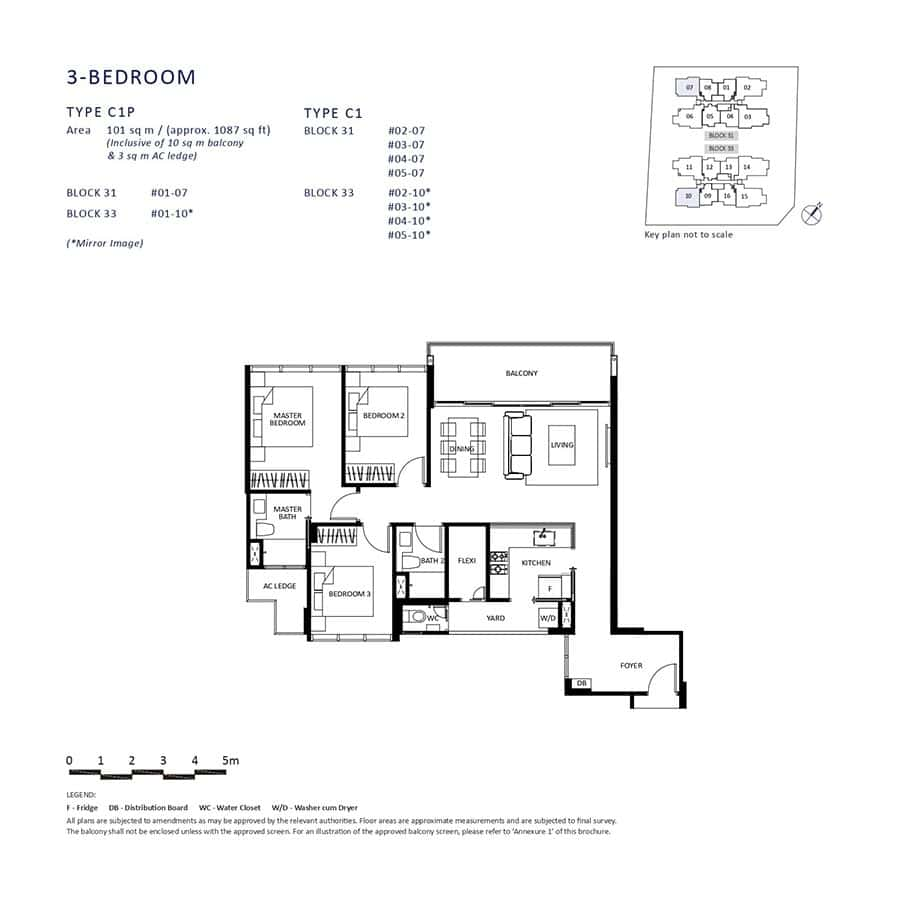 The-Lilium-Condo-Floor-Plan-3-Bedroom-C1-C1P