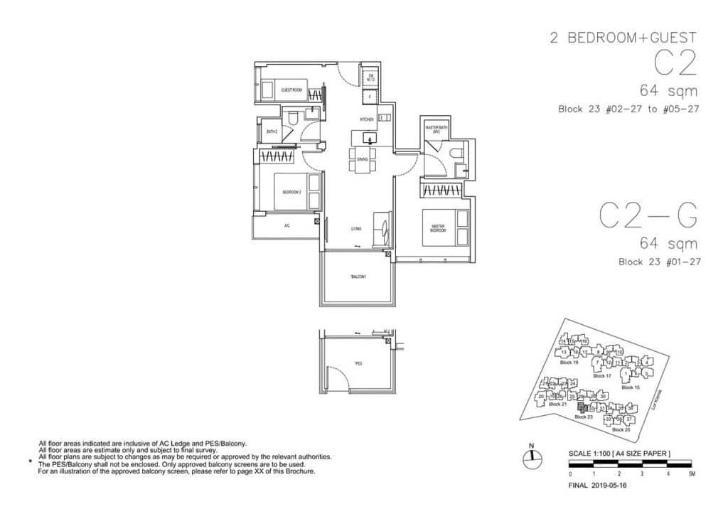 View-at-Kismis-Condo-Floor-Plan-2-Bedroom-Guest-C2-C2G
