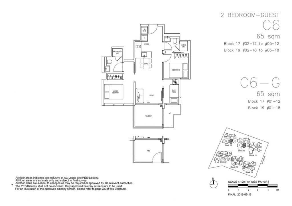 View-at-Kismis-Condo-Floor-Plan-2-Bedroom-Guest-C6-C6G