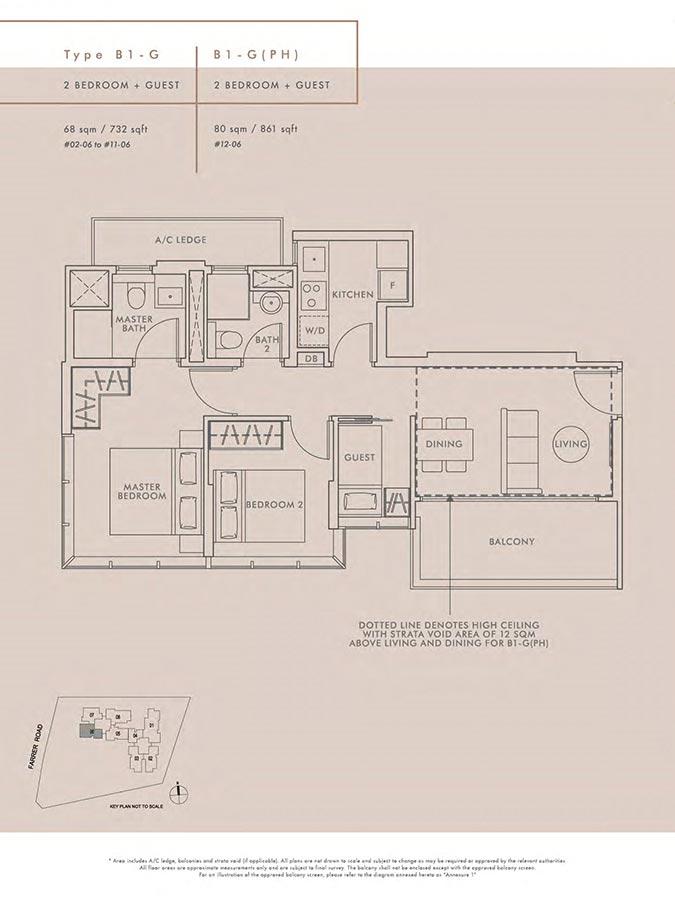 Wilshire-Residences-Condo-Floor-Plan-2-Bedroom-Guest-B1G-B1GPH