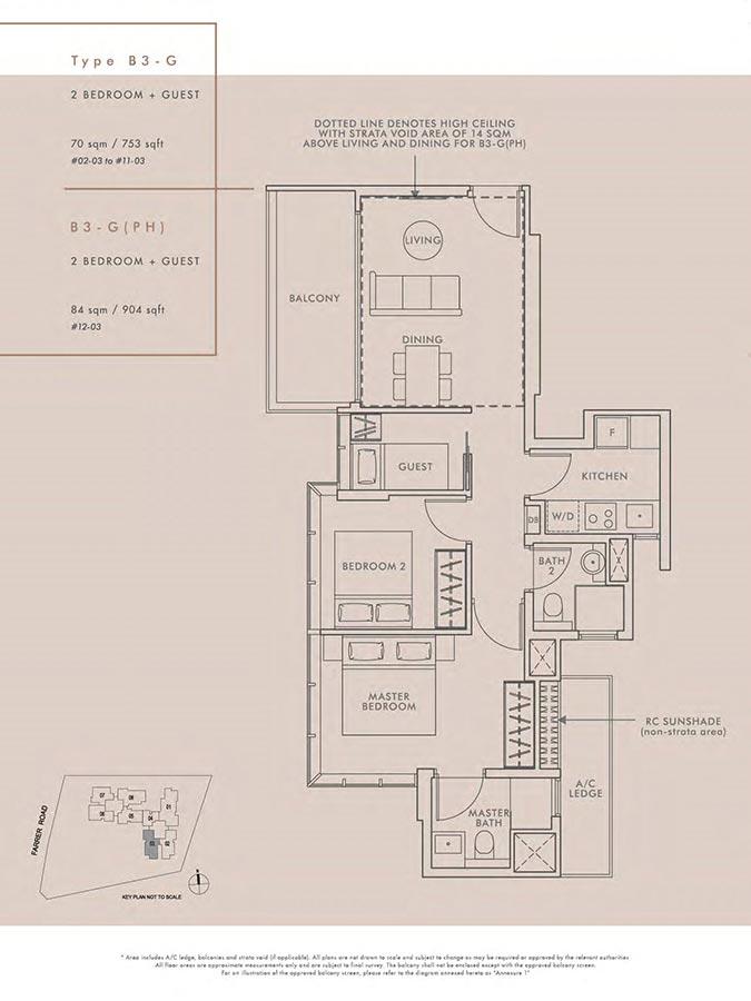 Wilshire-Residences-Condo-Floor-Plan-2-Bedroom-Guest-B3G-B3GPH