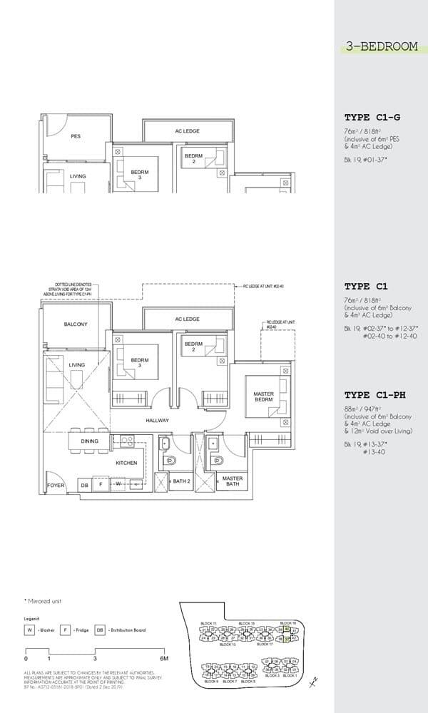 berra Executive Condo Floor Plan 3 Bedroom C1