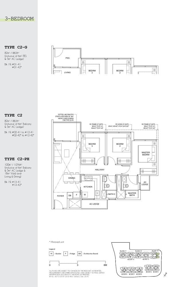Parc Canberra Executive Condo Floor Plan 3 Bedroom C2