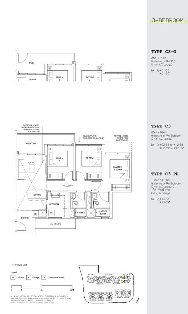 Parc Canberra Executive Condo Floor Plan 3 Bedroom C3