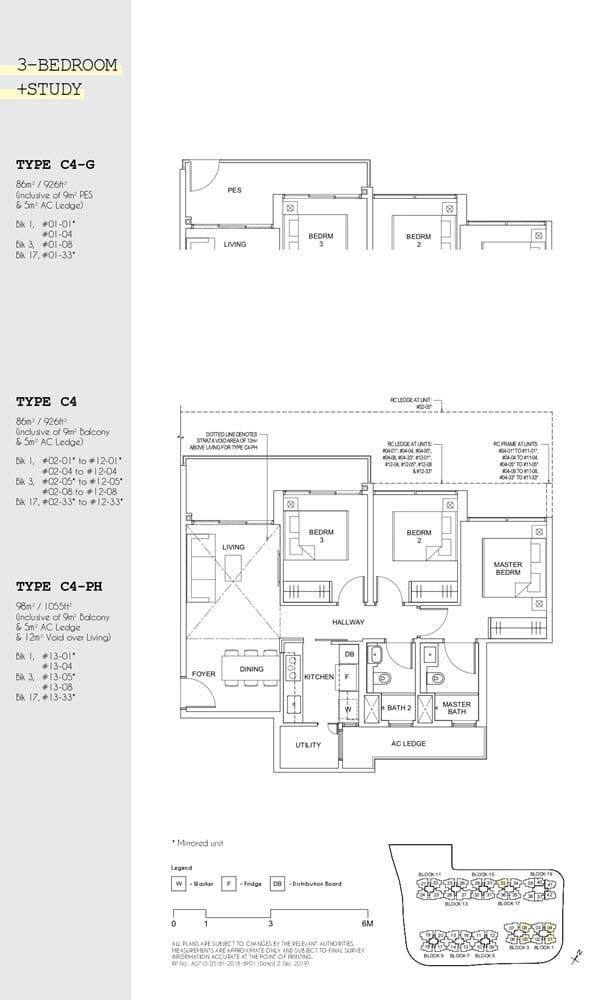 Parc Canberra Executive Condo Floor Plan 3 Bedroom Study C4