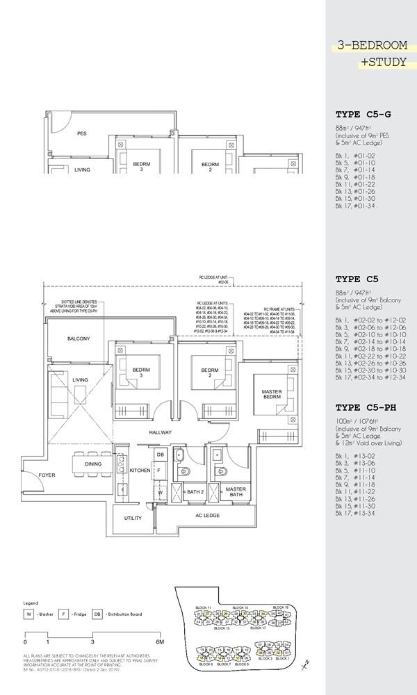 Parc Canberra Executive Condo Floor Plan 3 Bedroom Study C5