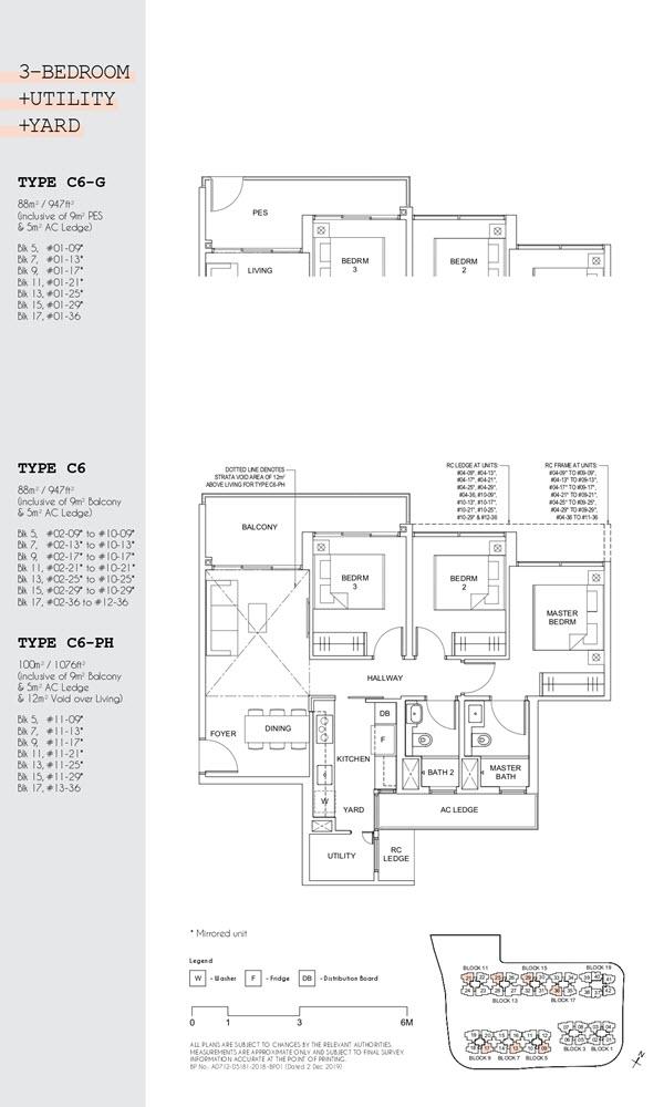 Parc Canberra Executive Condo Floor Plan 3 Bedroom Utility Yard C6