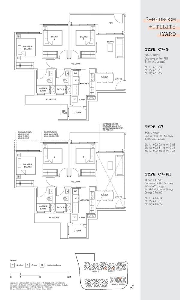 Parc Canberra Executive Condo Floor Plan 3 Bedroom Utility Yard C7