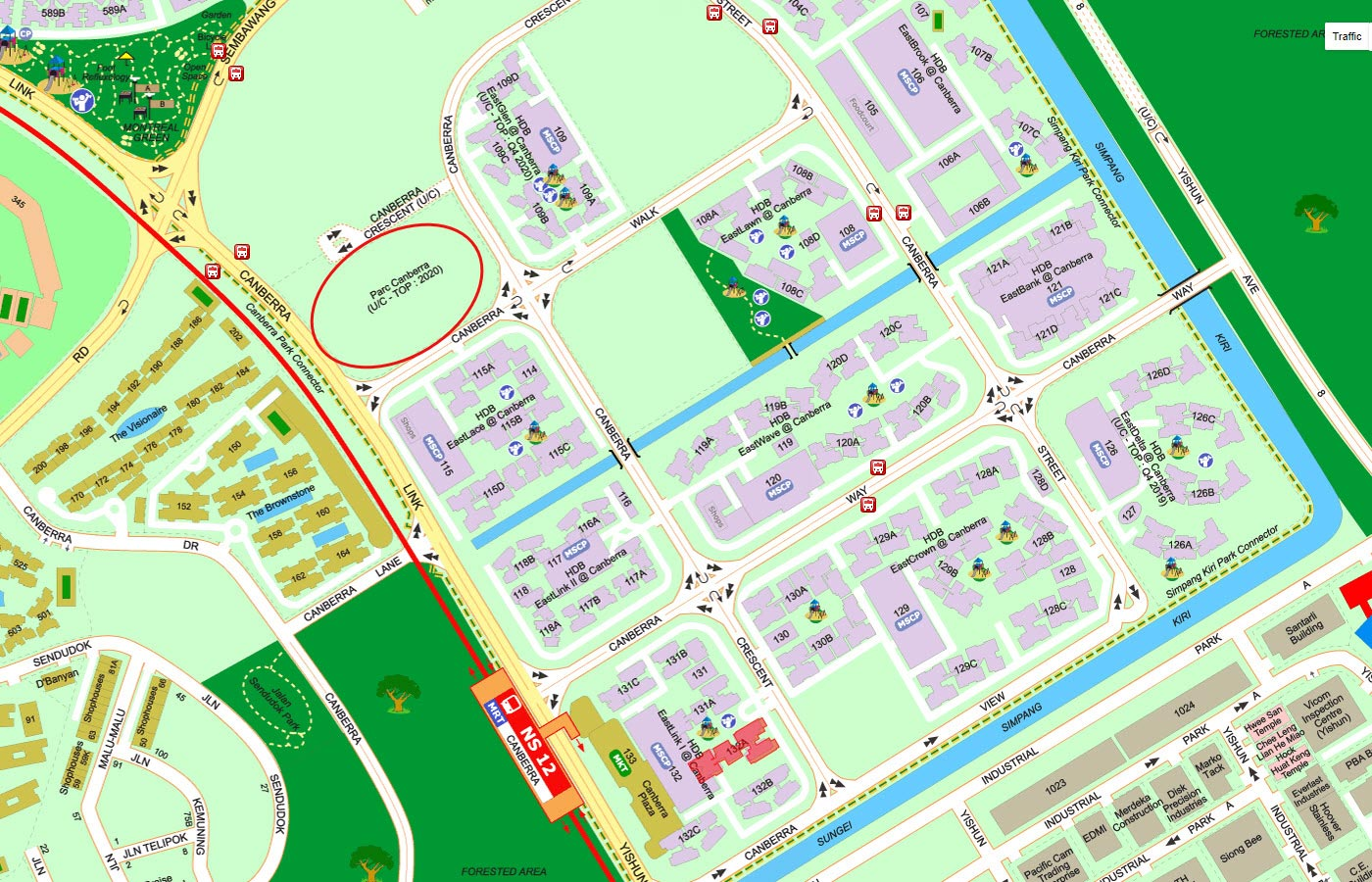 Parc-Canberra-Executive-Condo-Street-Directory-Map