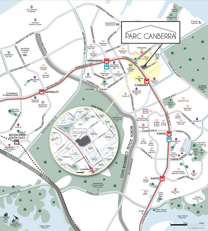 Parc-Canberra-Executive-Condo-location-map
