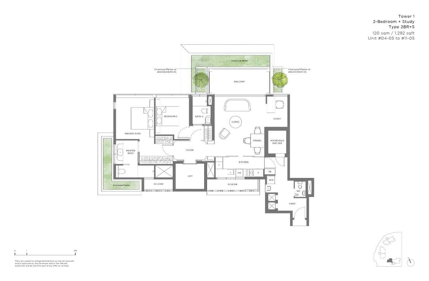 15 Holland Hill - Floor Plan - 2 Bedroom + Study 2BR+S