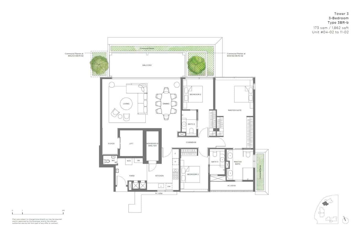 15 Holland Hill - Floor Plan - 3 Bedroom 3BR-b