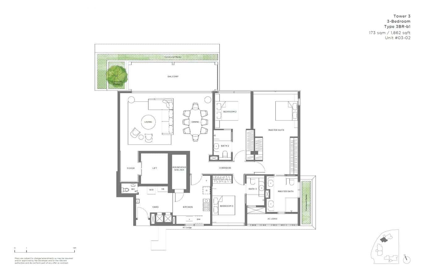 15 Holland Hill - Floor Plan - 3 Bedroom 3BR-b1