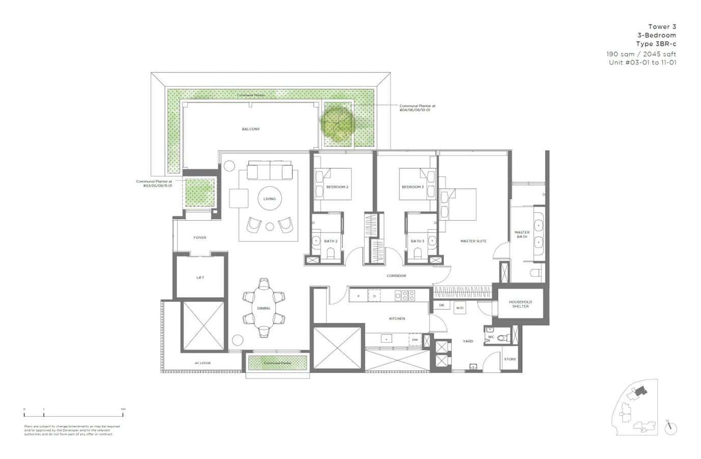 15 Holland Hill - Floor Plan - 3 Bedroom 3BR-c