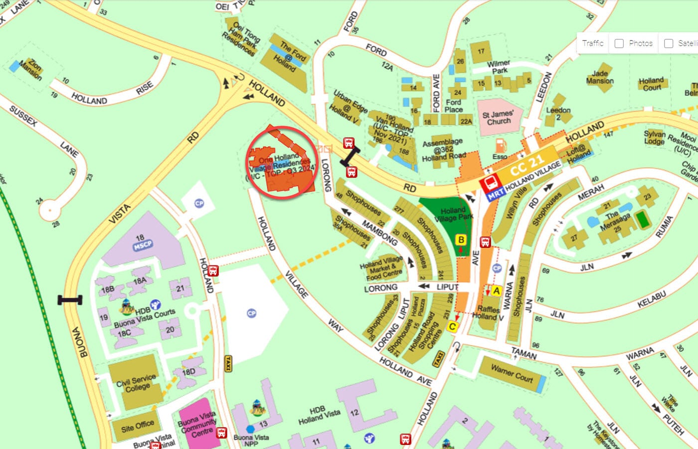 One Holland Village Residences - Street Directory Map