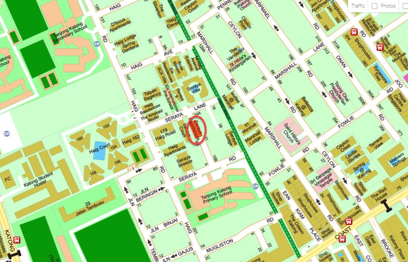 Seraya Residences - Street Directory Map