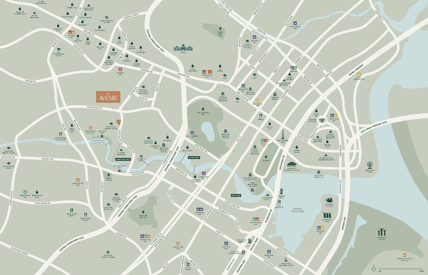 The Avenir - Location Map