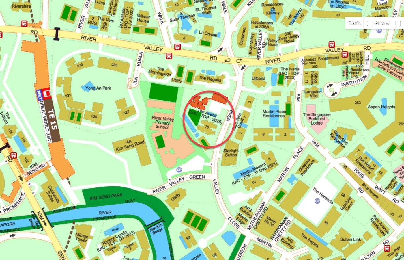 The Avenir - Street Directory Map