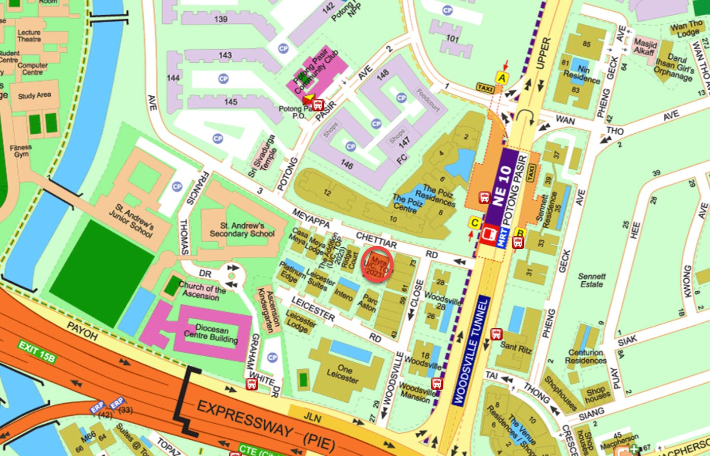 MYRA Condo Location - Street Directory Map