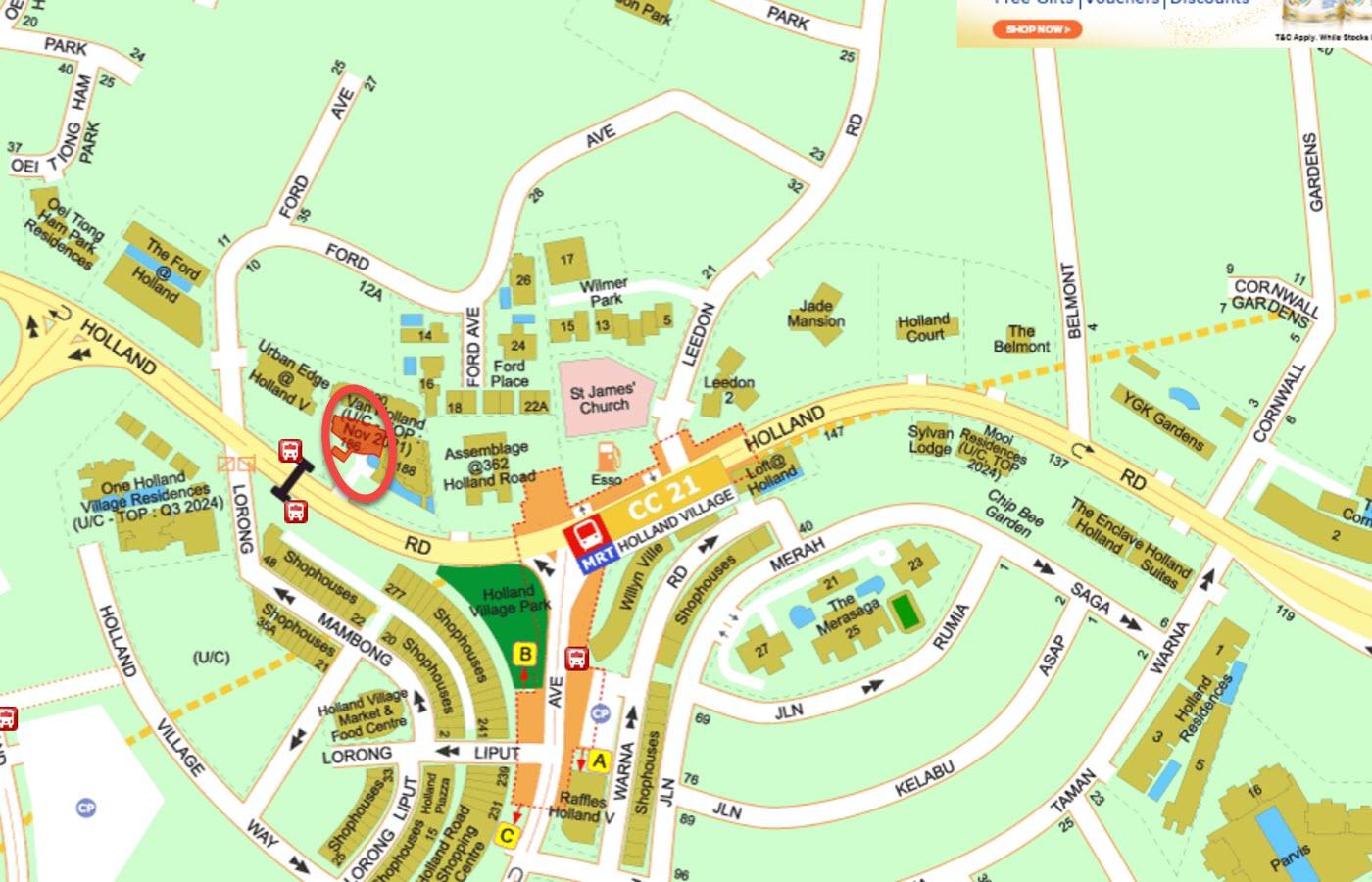 Van Holland Condo Location - Street Directory Map