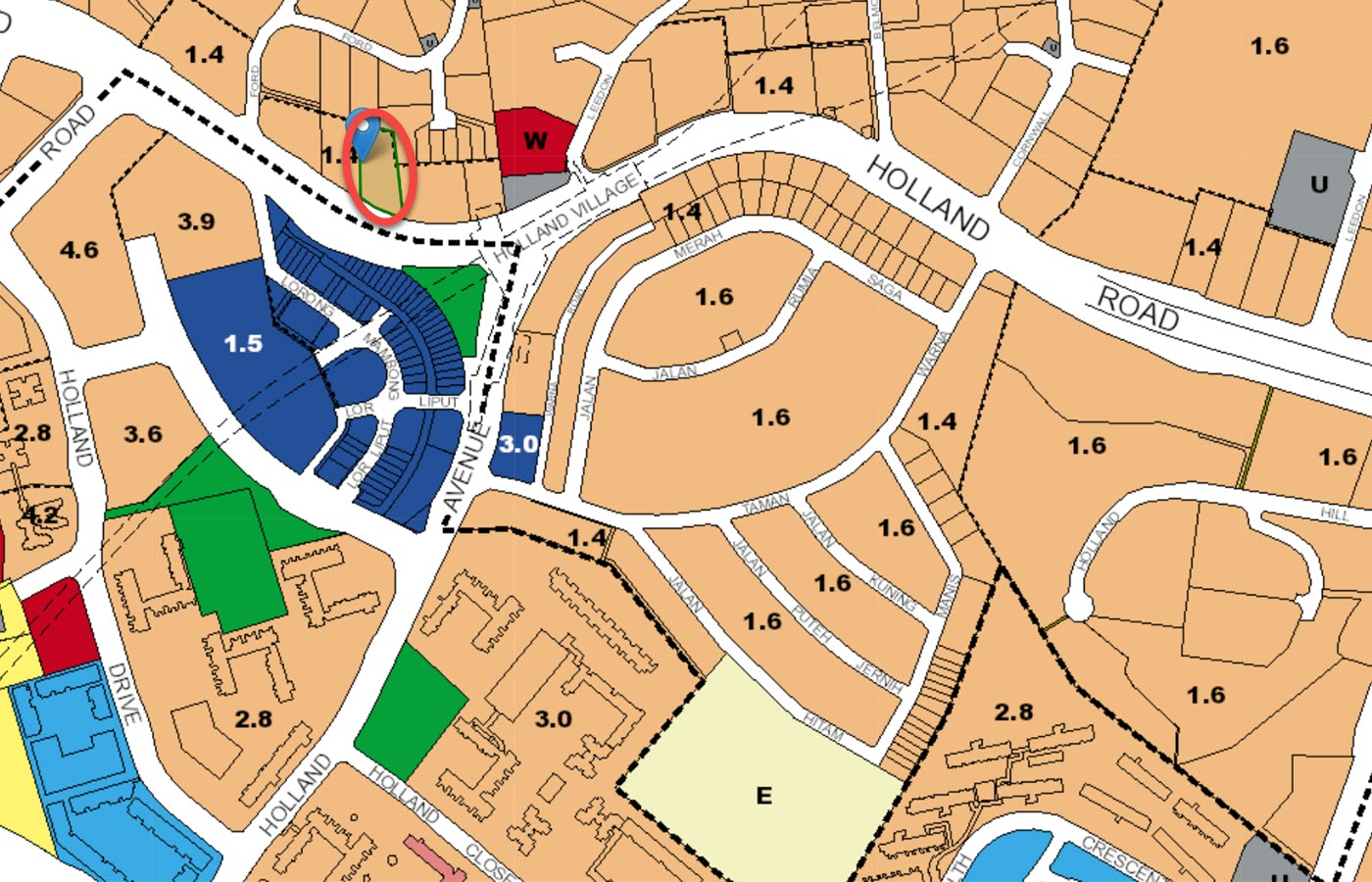 Van Holland Condo Location - URA Master Plan Map
