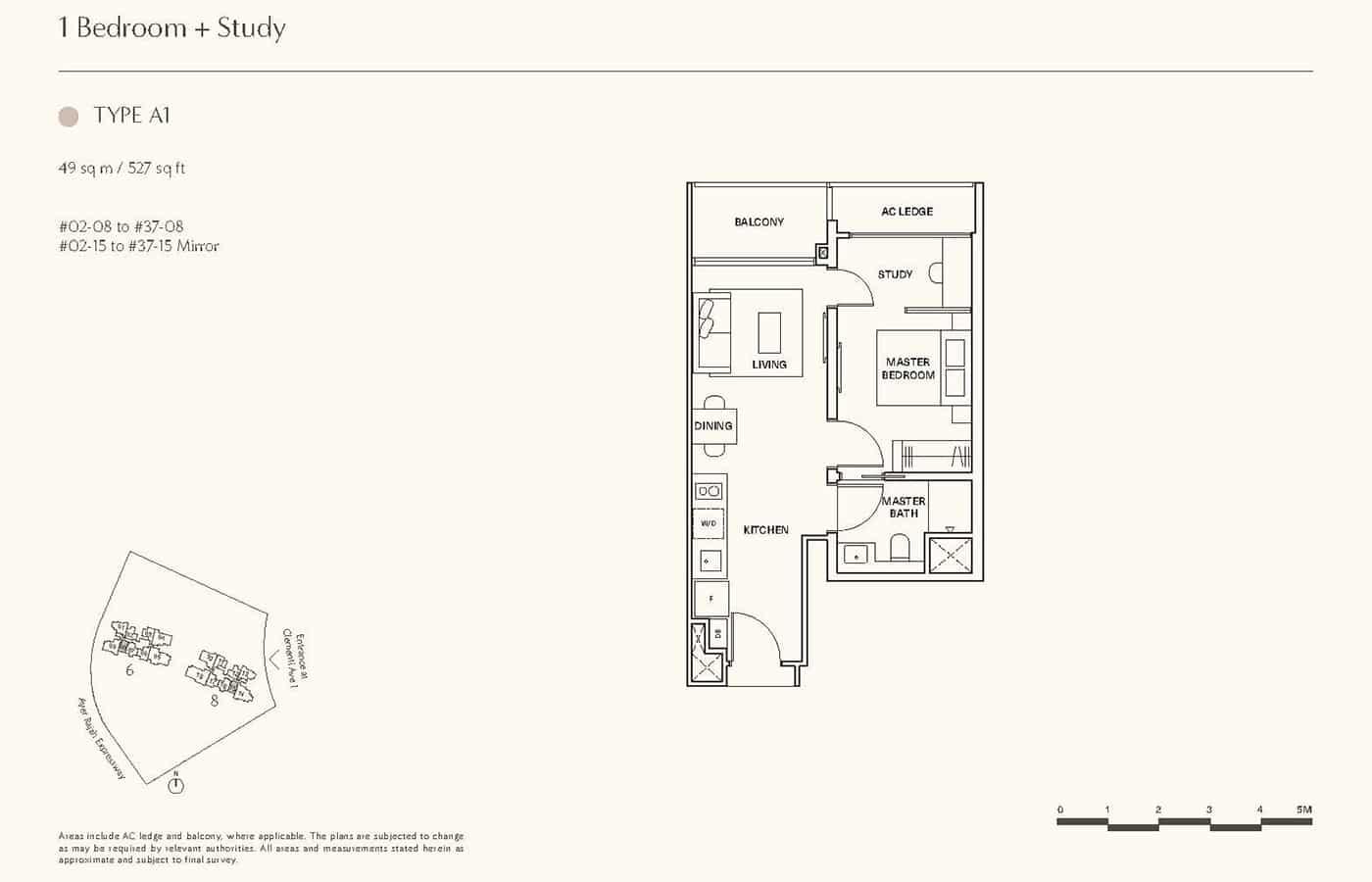 Clavon Condo Floor Plans - 1 Bedroom Study A1
