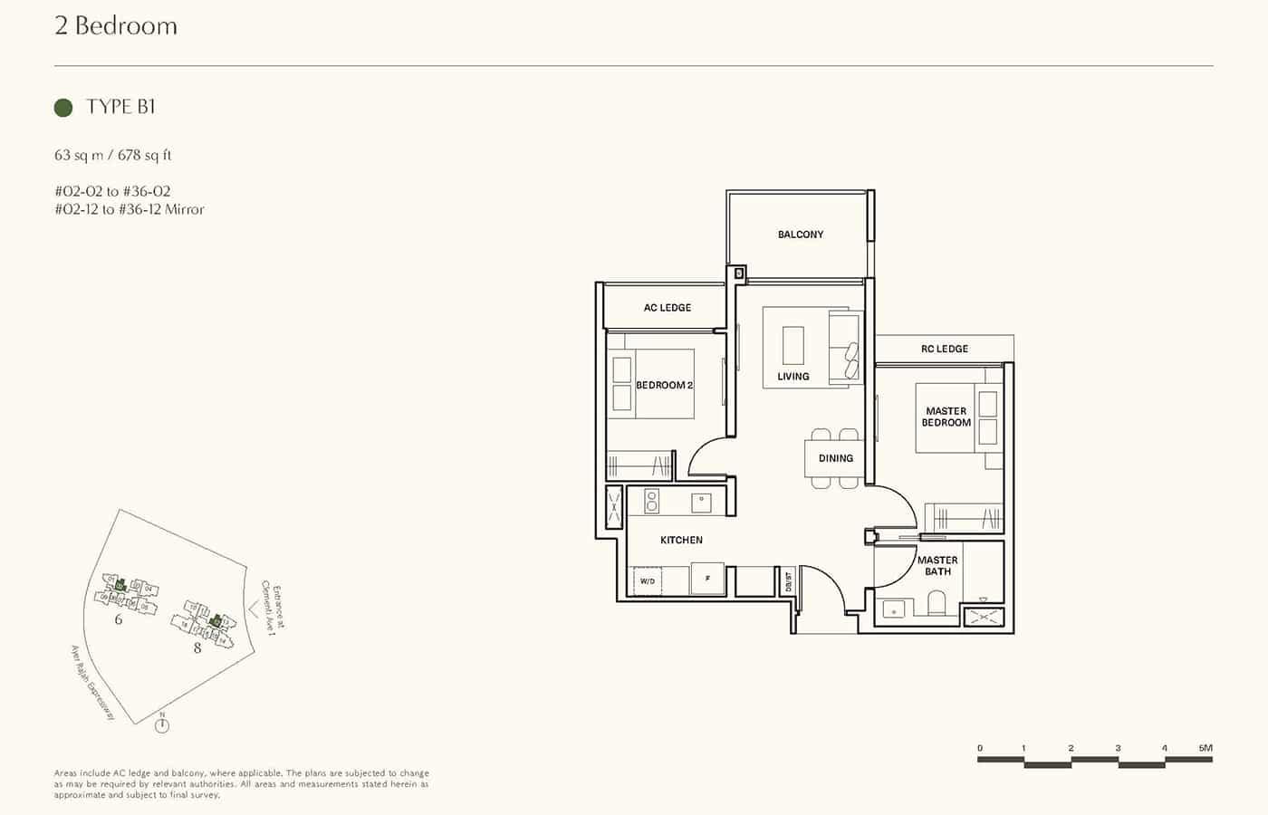 Clavon Condo Floor Plans - 2 Bedroom B1