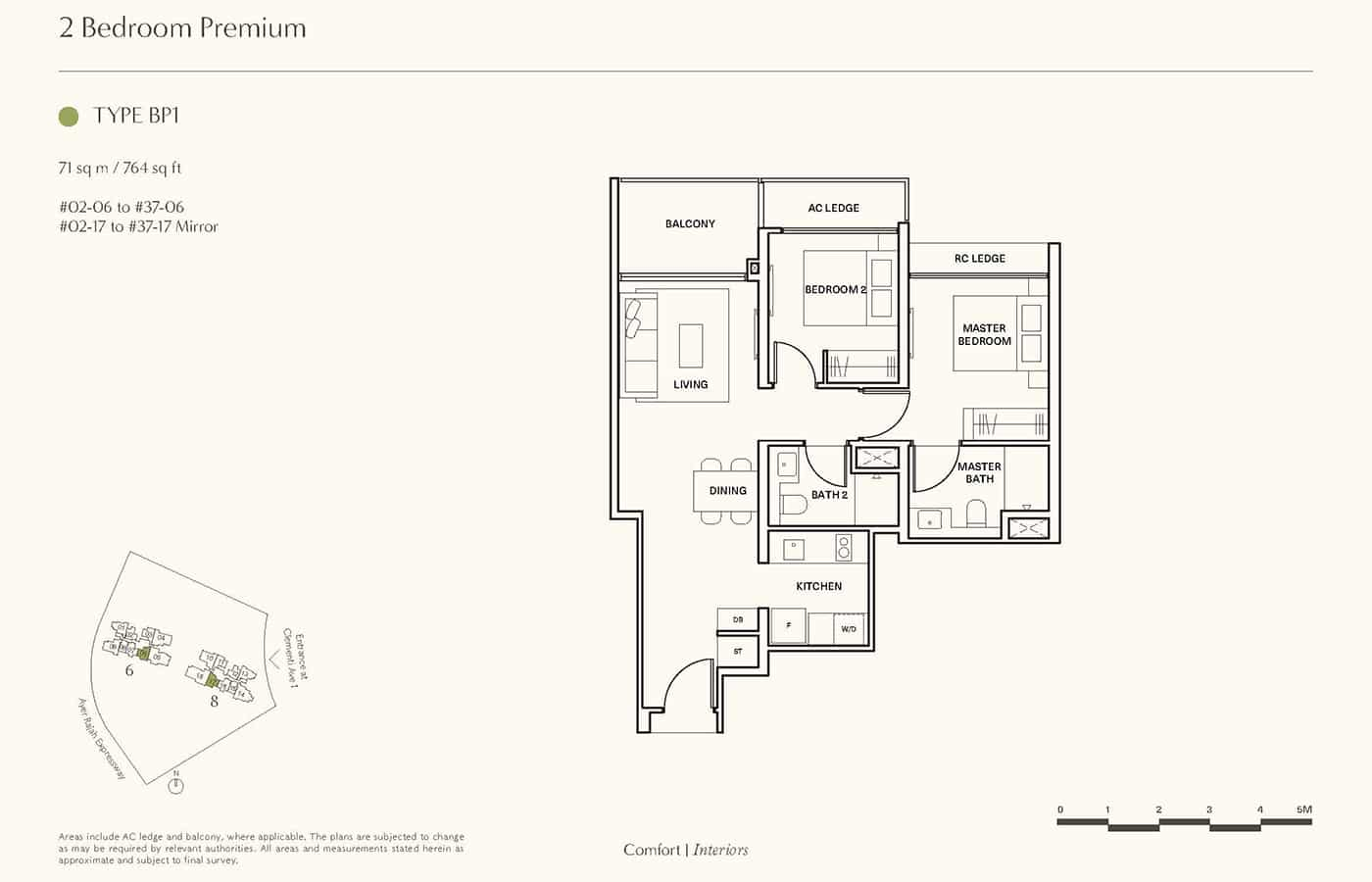 Clavon Condo Floor Plans - 2 Bedroom Premium BP1