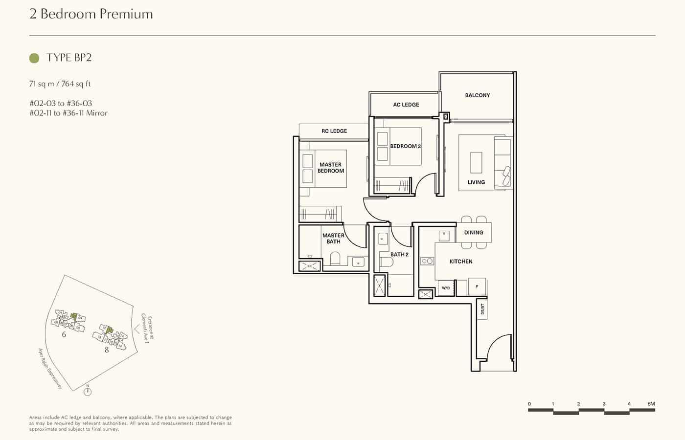 Clavon Condo Floor Plans - 2 Bedroom Premium BP2
