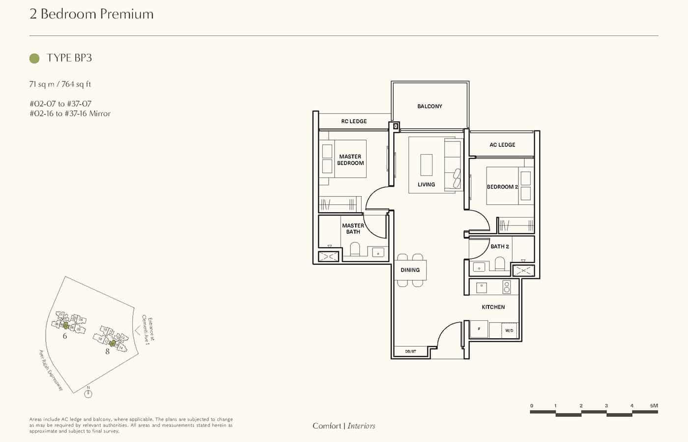 Clavon Condo Floor Plans - 2 Bedroom Premium BP3
