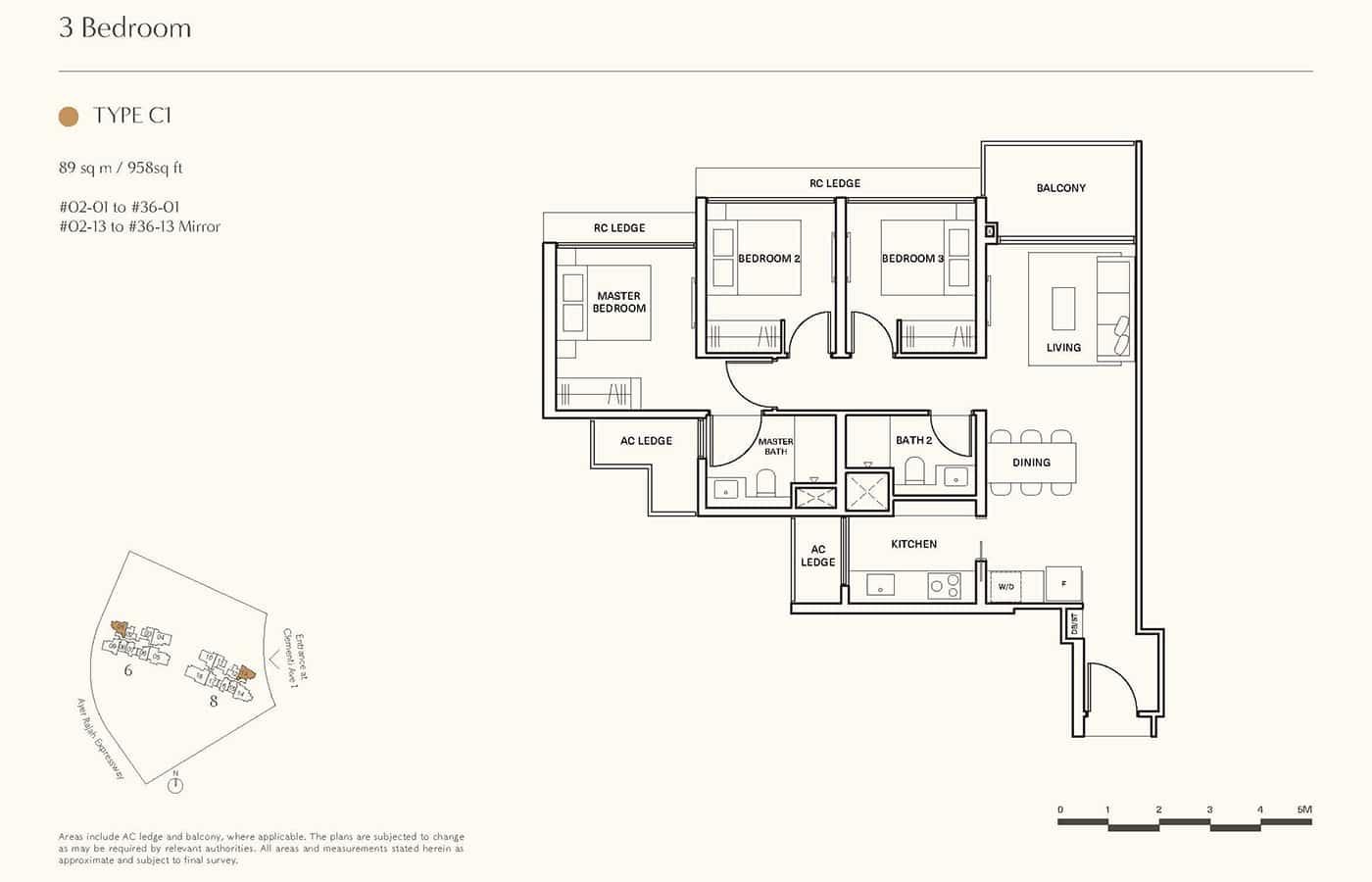 Clavon Condo Floor Plans - 3 Bedroom C1