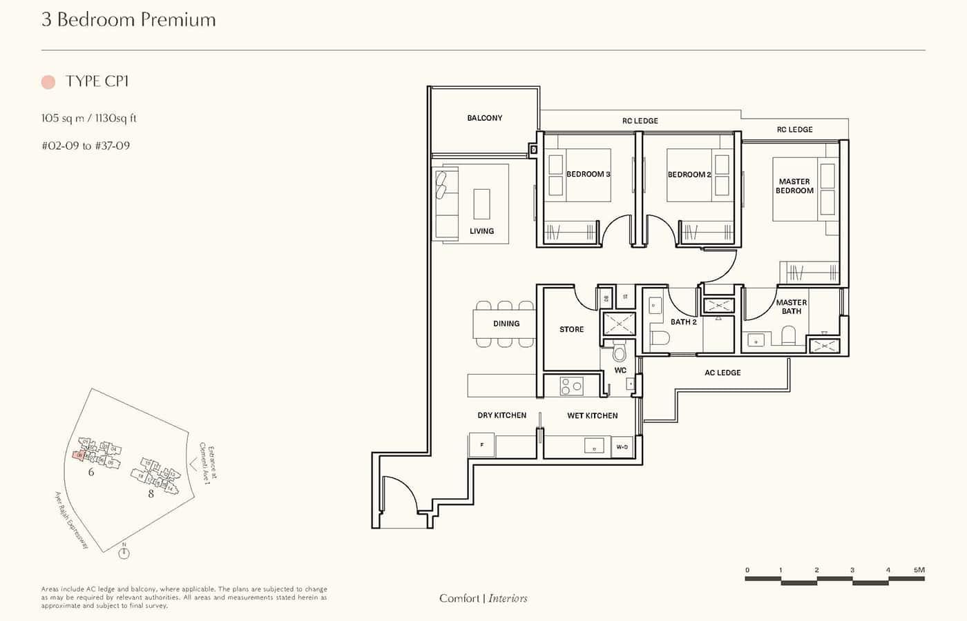 Clavon Condo Floor Plans - 3 Bedroom Premium CP1