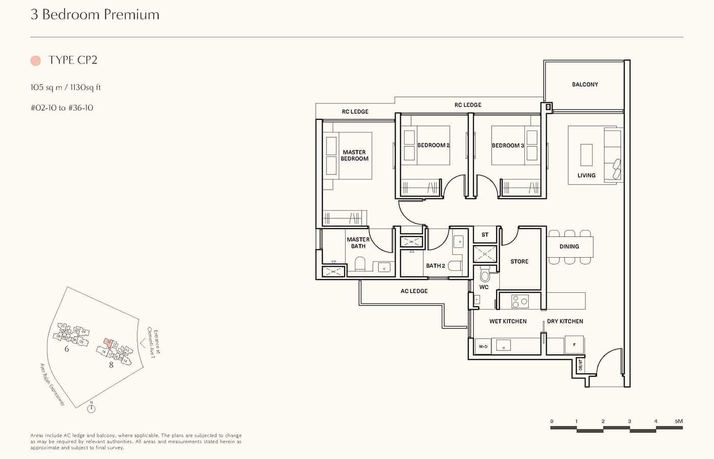 Clavon Condo Floor Plans - 3 Bedroom Premium CP2